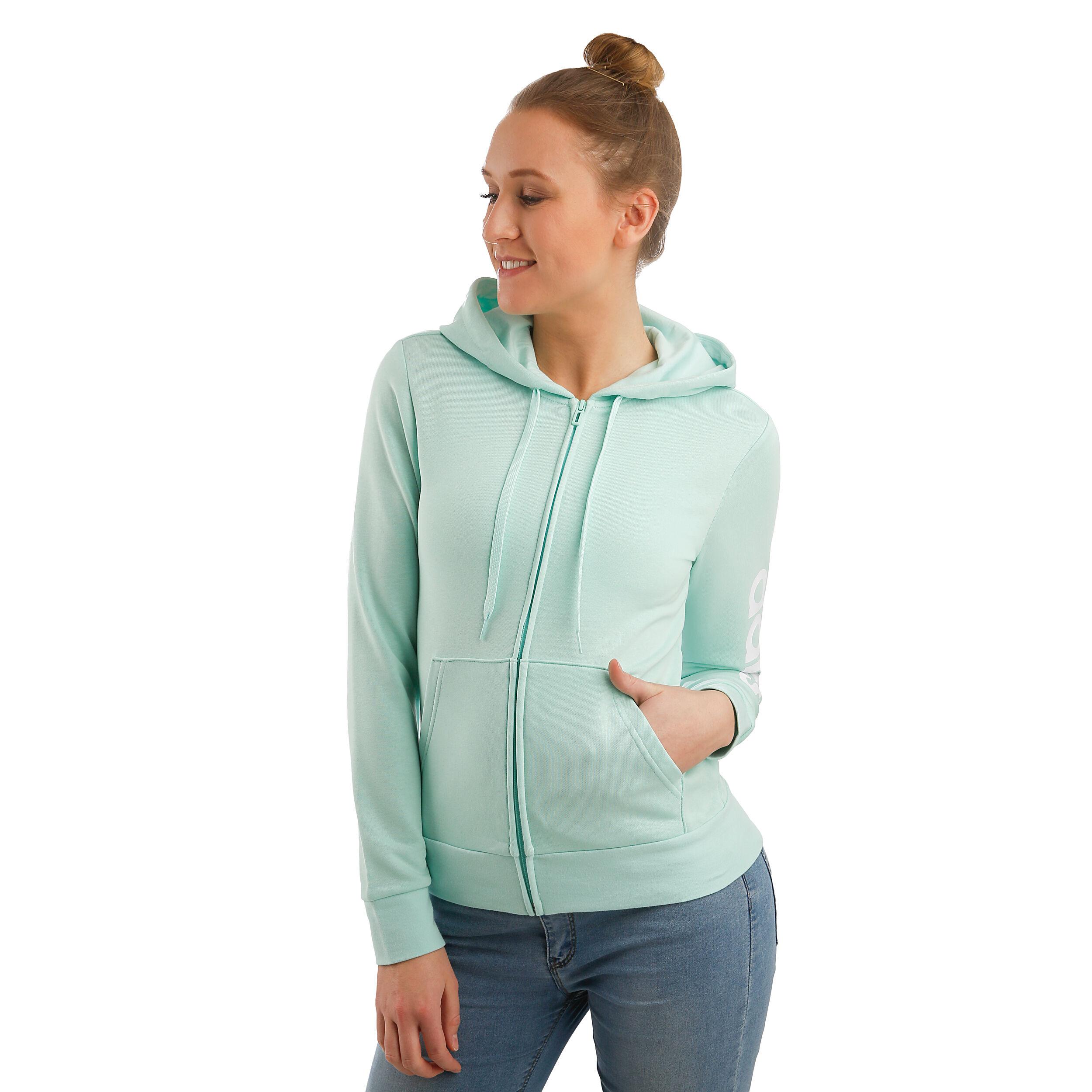 adidas Essentials Linear Full Zip Hoody Damen Mint, Weiß