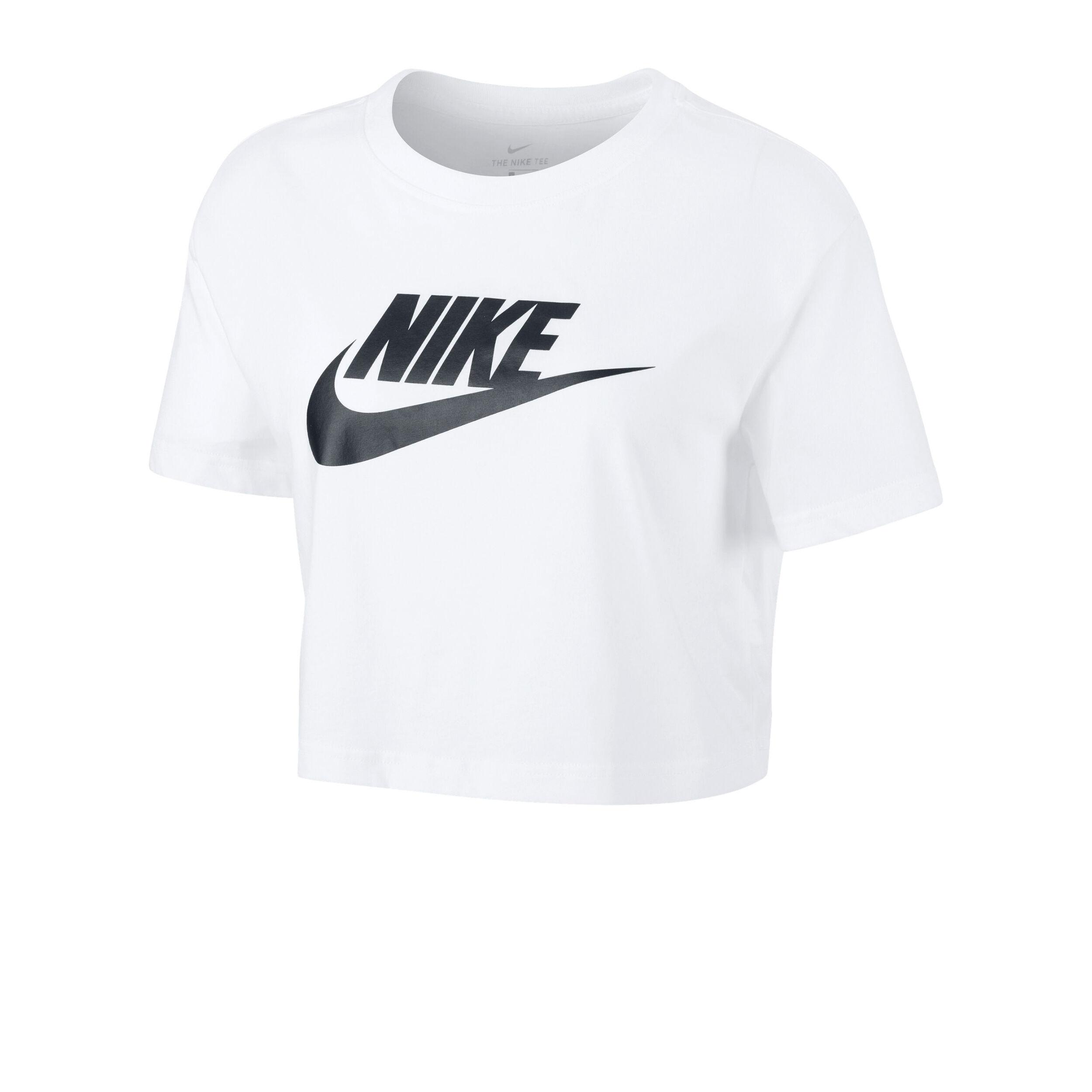 Nike Sportswear Essential Icon Future Crop T Shirt Damen Weiß, Schwarz