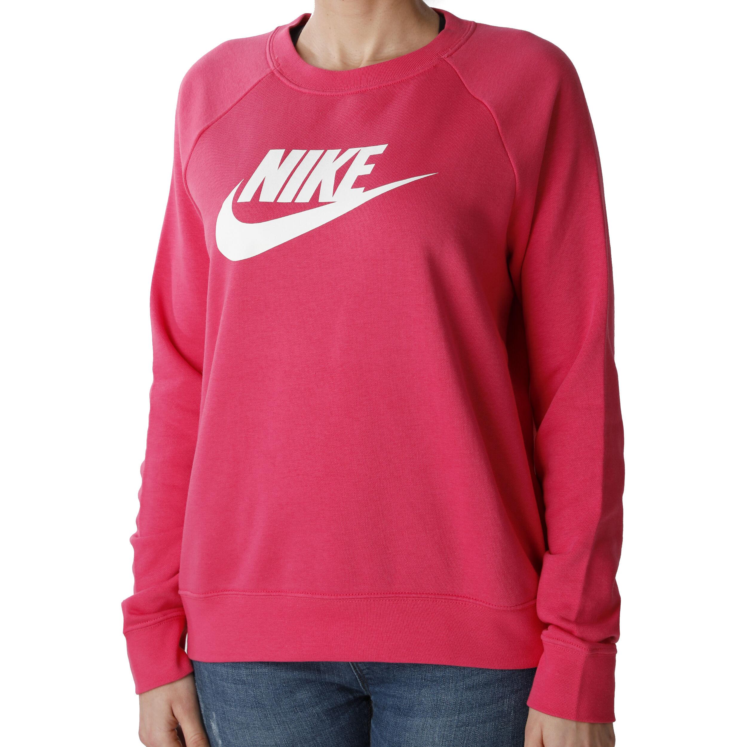 Nike Sportswear Essential Crew Sweatshirt Damen Pink, Weiß