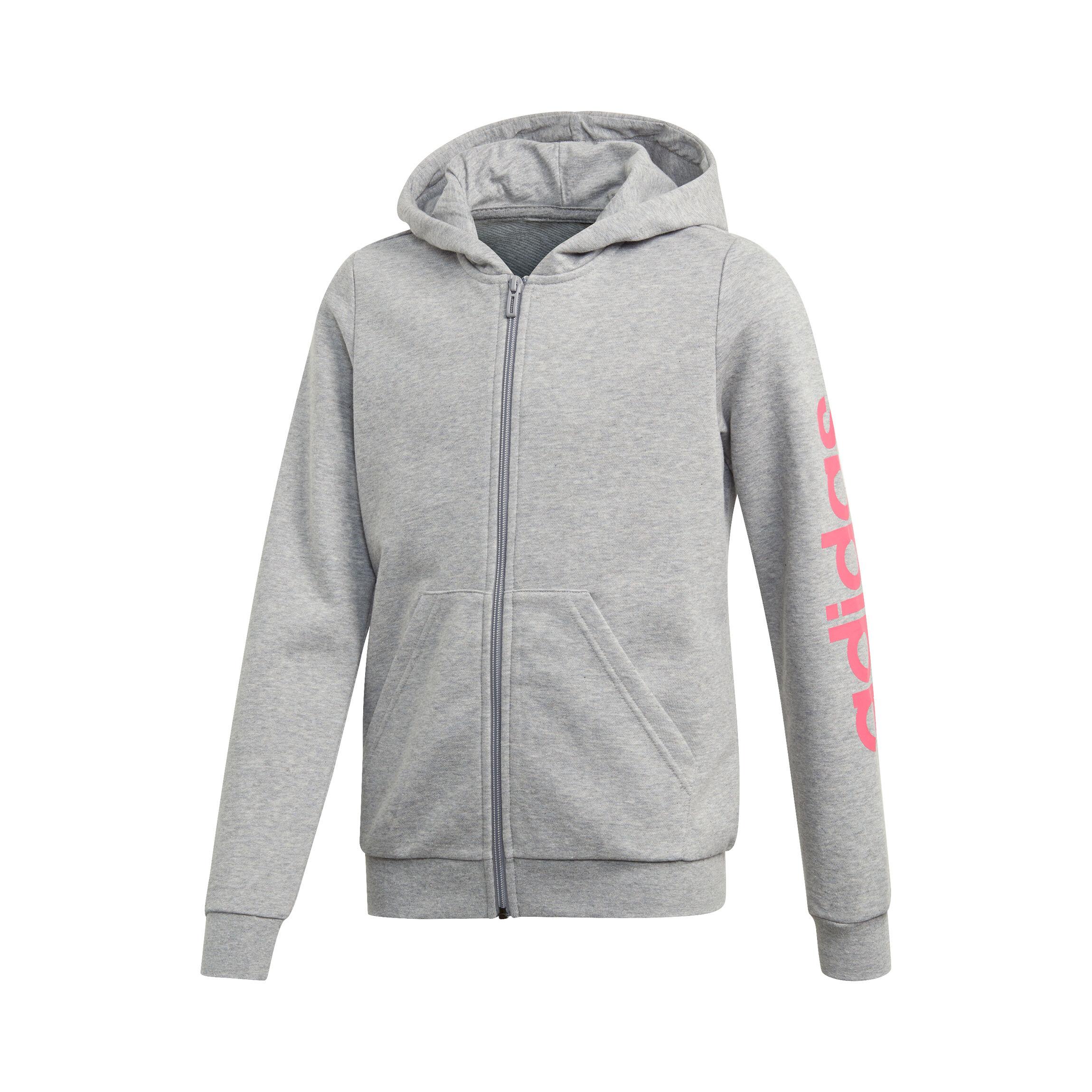 adidas Essentials Linear Sweatjacke Mädchen Hellgrau, Pink