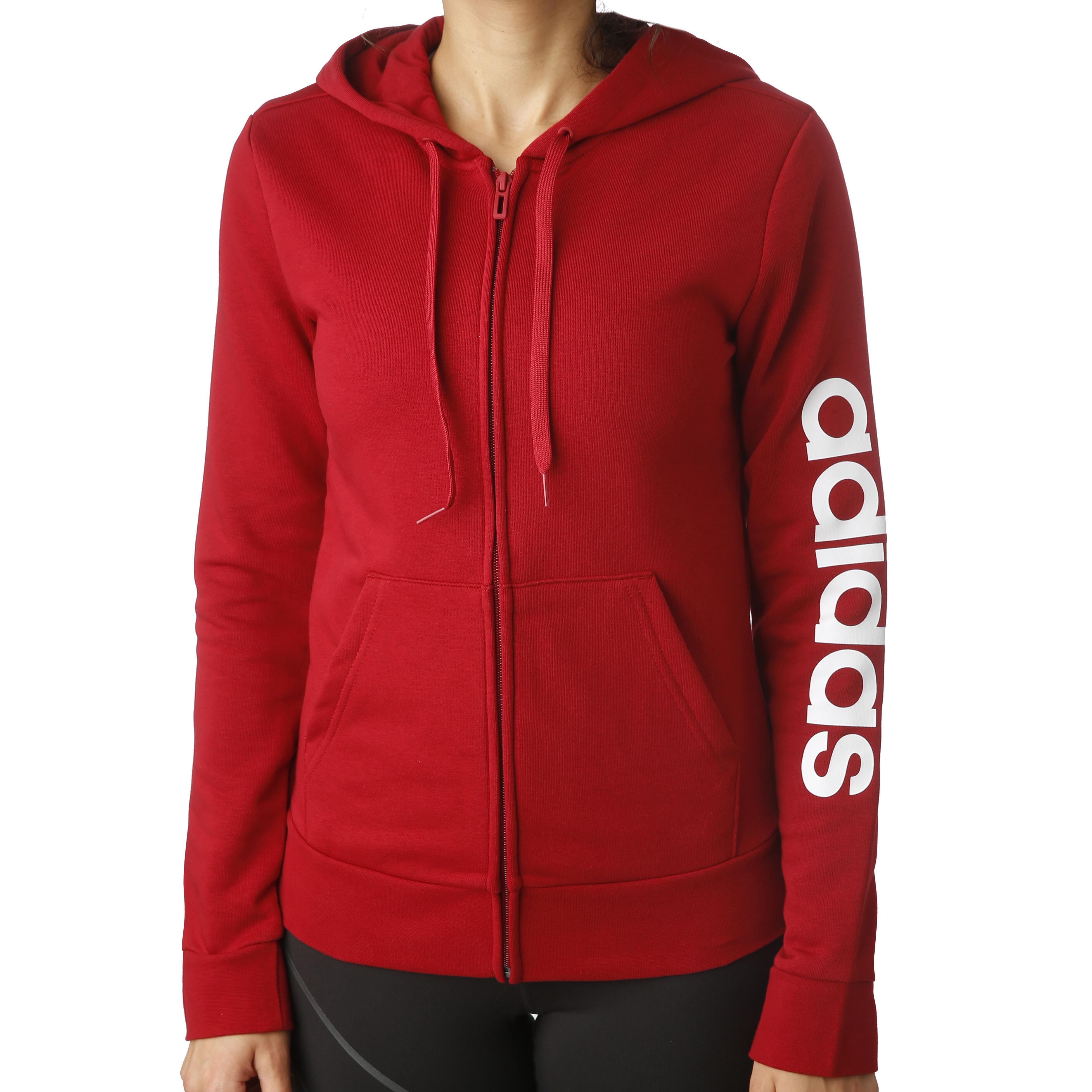 adidas Essentials Linear Sweatjacke Jungen Rot, Weiß