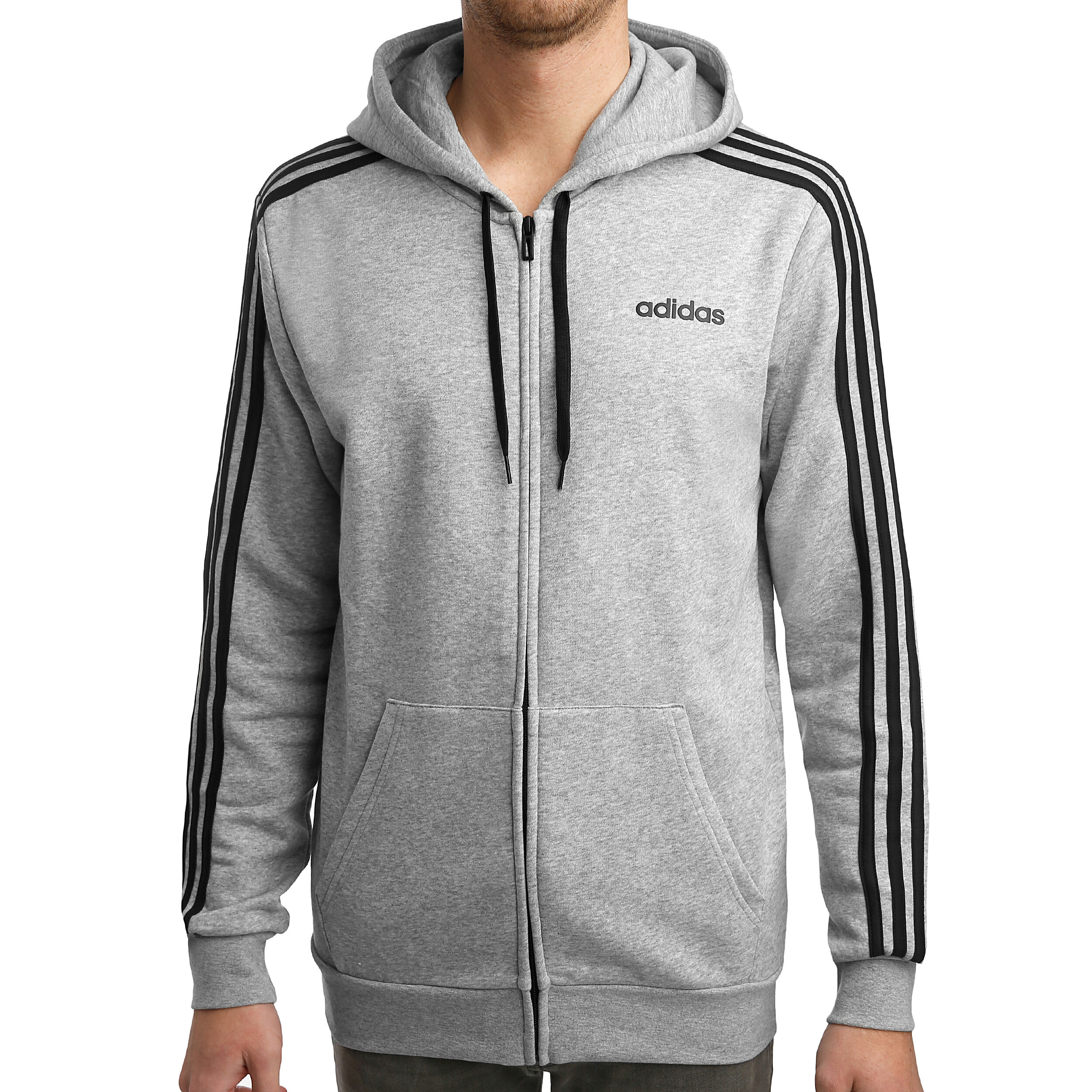 adidas Essentials 3 Stripes Sweatjacke Herren Hellgrau
