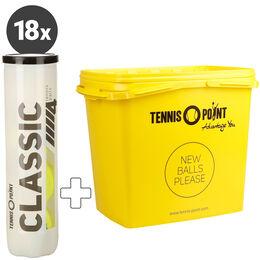 18 Dosen Classic Tennisball 4er + Balleimer