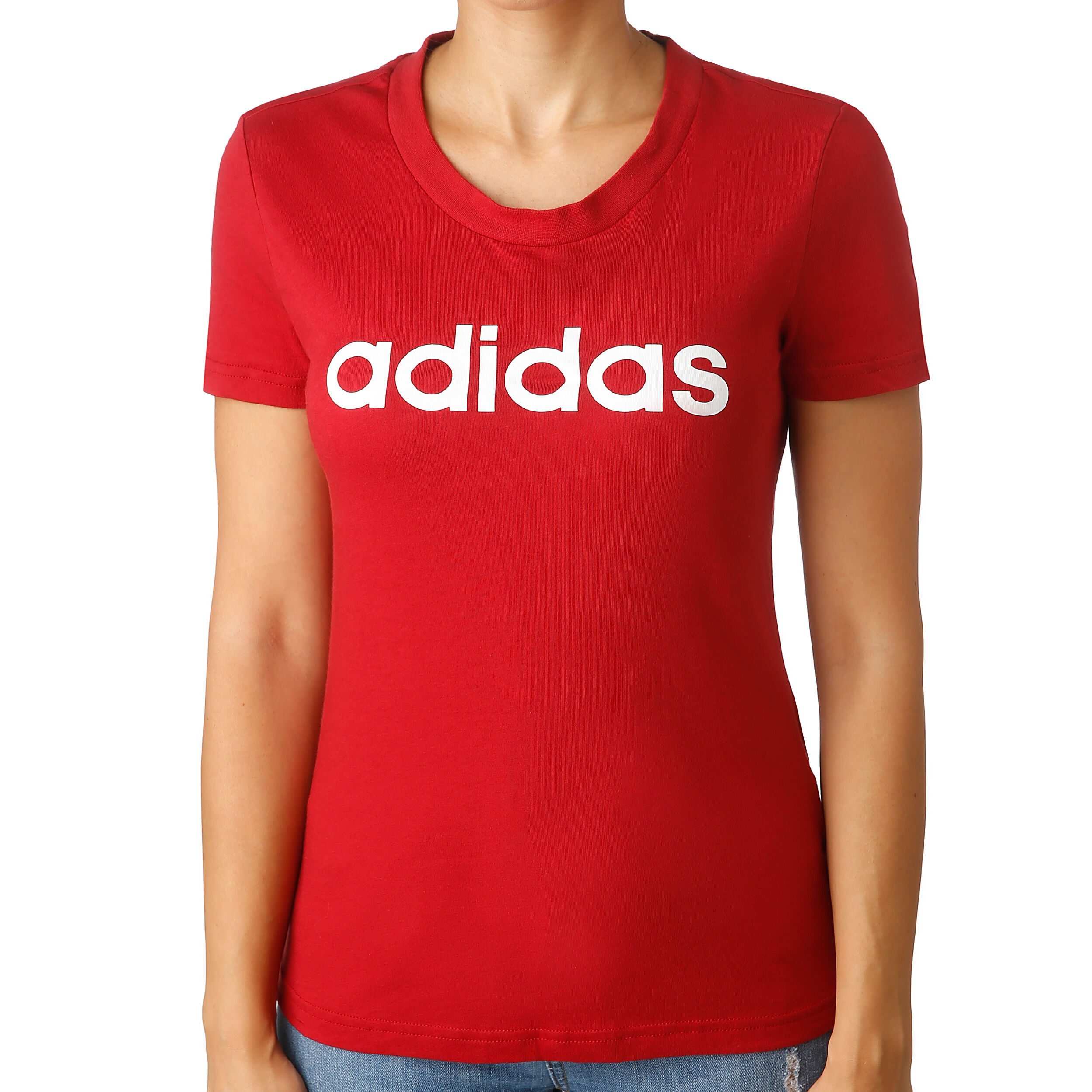 adidas Essentials Linear Slim T Shirt Damen Dunkelrot