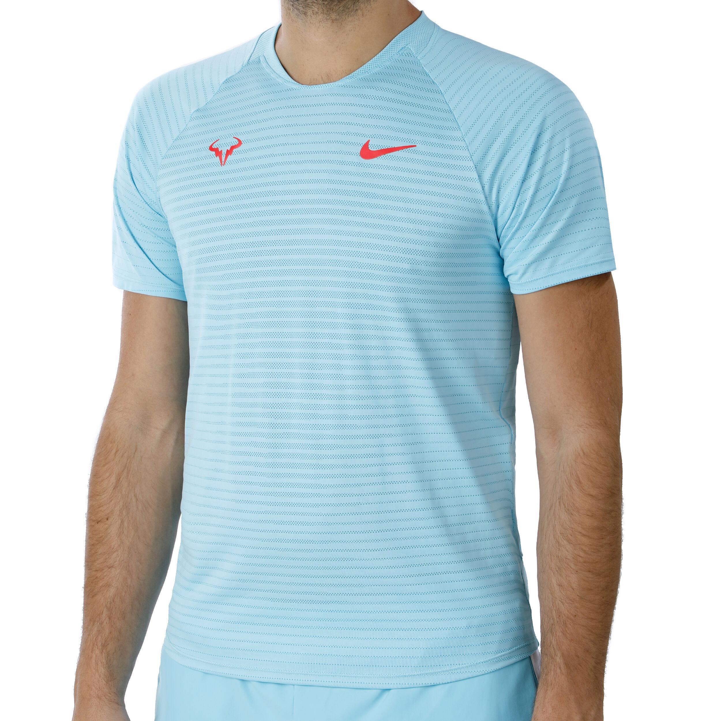 Rafael Nadal Court AeroReact Slam T Shirt Herren Hellblau, Neonrot
